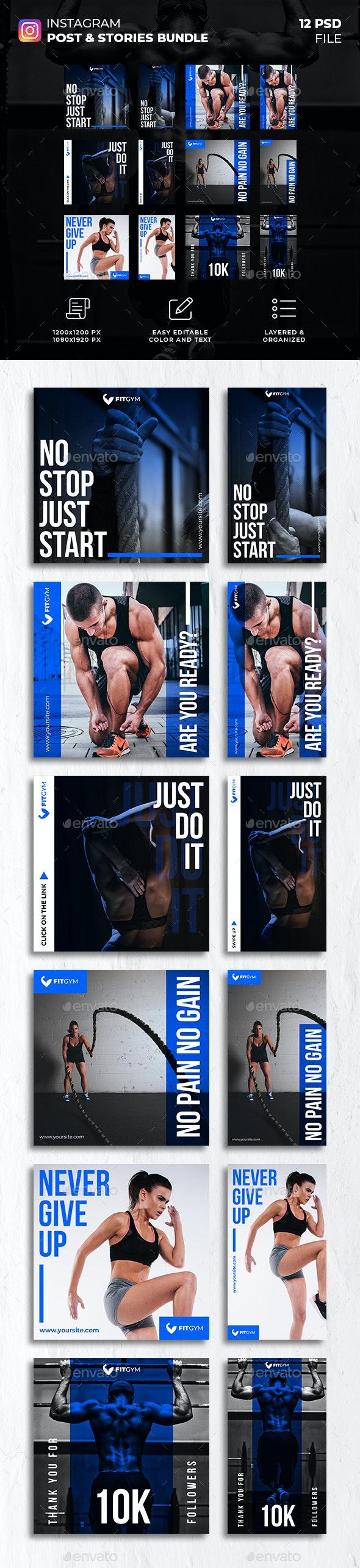 Fitness Gym Instagram Post and Stories Bundle - Social Media Web Elements