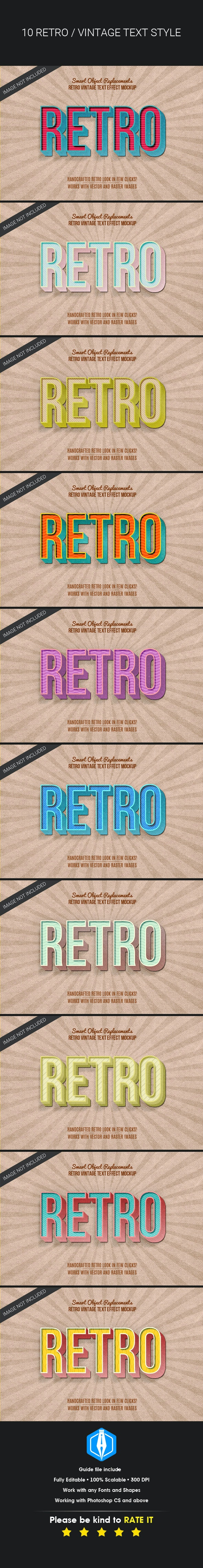 3D Retro Vintage Text Effects - Text Effects Actions