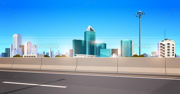 Highway Asphalt Road with Chipper City Skyline - Buildings Objects