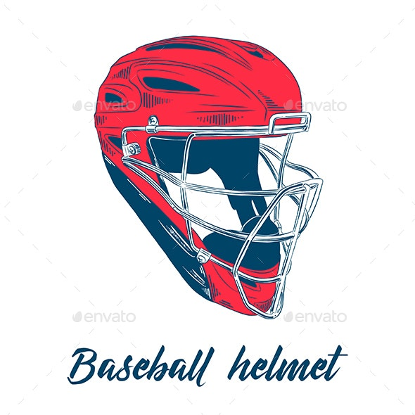 Hand Drawn Sketch Of Baseball Helmet - Sports/Activity Conceptual