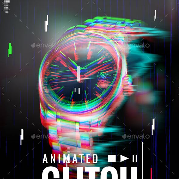 Animated Glitch Photoshop Template