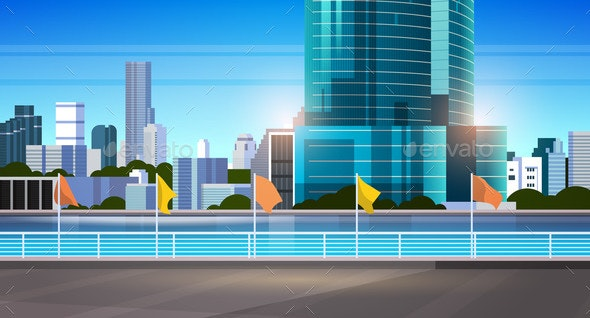 City Skyline Modern Skyscrapers Fence and River - Buildings Objects