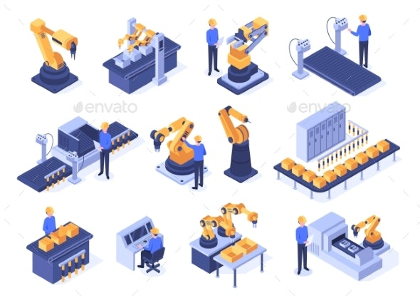 Isometric Industrial Robots Assembly Line - Industries Business