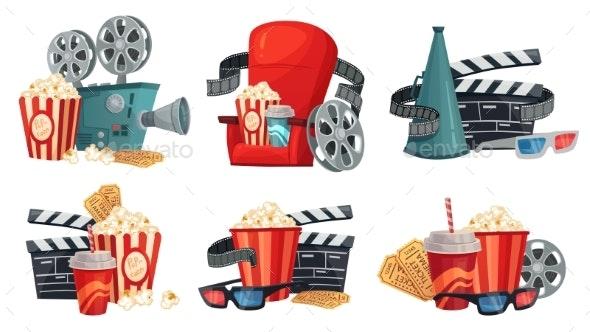 Cartoon Cinema. Movie Projector, 3d Cinema Glasses - Miscellaneous Vectors