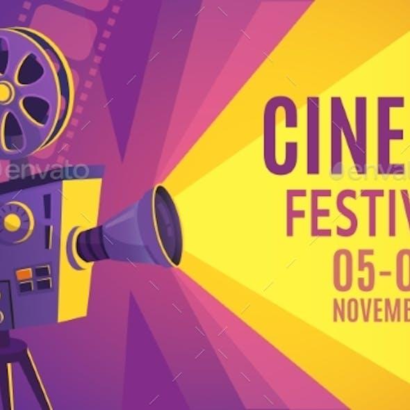 Cinema Festival Poster. Film Billboard, Retro
