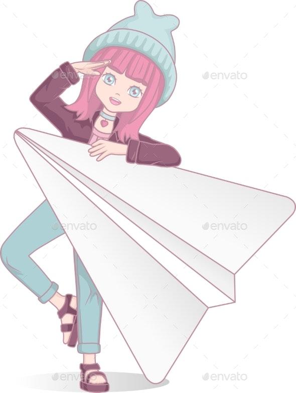 Anime Manga Girl With Paper Plane Cartoon By Valmory Graphicriver