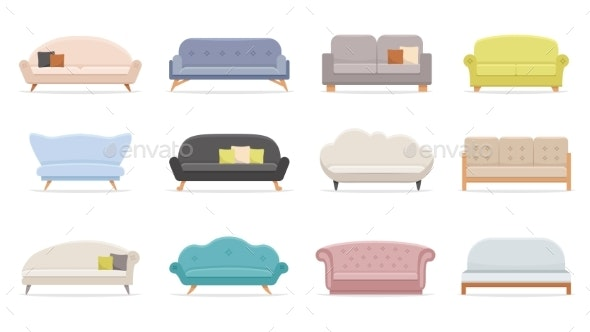 House Sofa. Comfortable Couch, Minimalist Modern - Objects Vectors