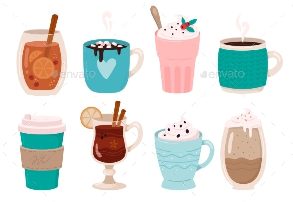 Warming Winter Drinks. Hot Chocolate, Cocoa - Food Objects