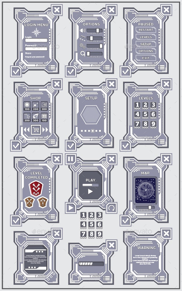 Set of Interface for the 2D Game - User Interfaces Game Assets