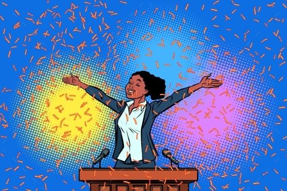 African Women Winner Politician Triumph - Business Conceptual