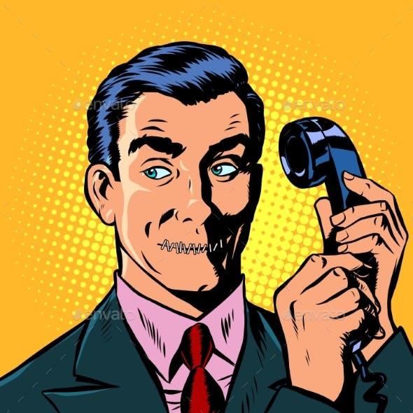 Mouth Shut Serious Man Talking on a Retro Phone