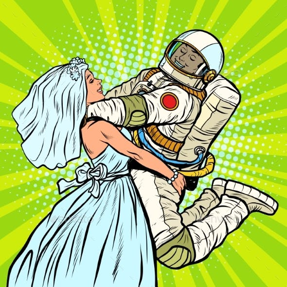 Bride and Groom at the Wedding Astronaut