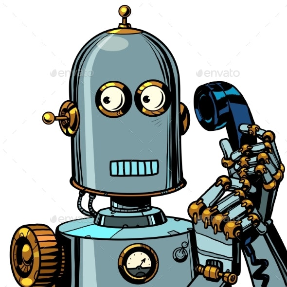 Robot Talking on a Retro Phone - Miscellaneous Characters