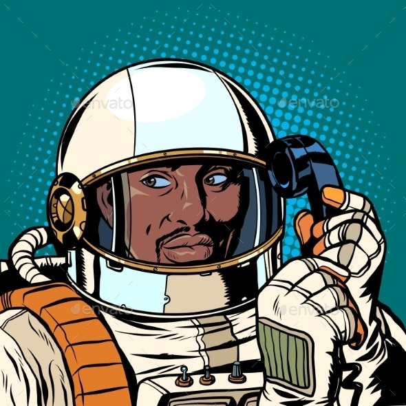 Serious African Astronaut Talking on a Retro Phone - People Characters