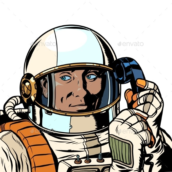 Serious Astronaut Talking on a Retro Phone - People Characters