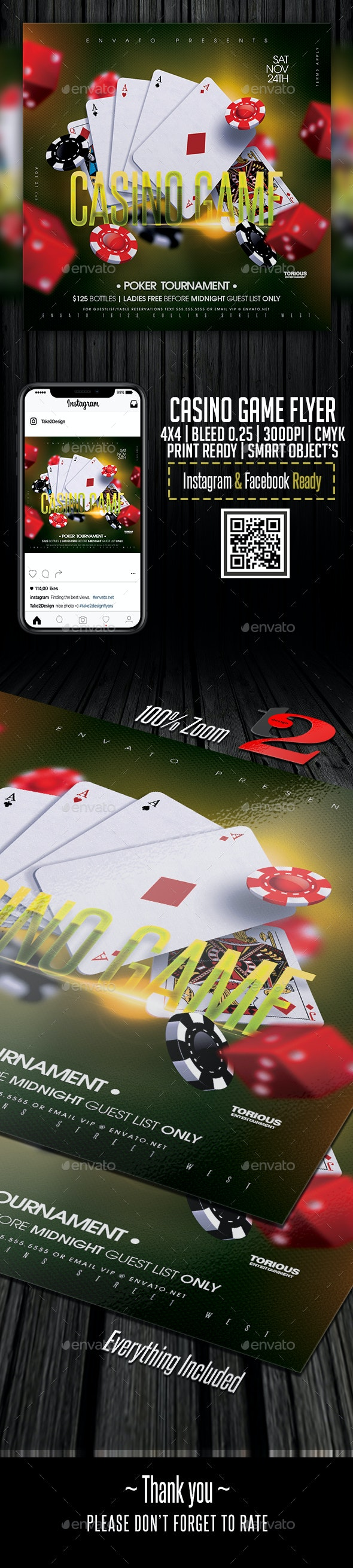 Casino Game Flyer Template - Clubs & Parties Events