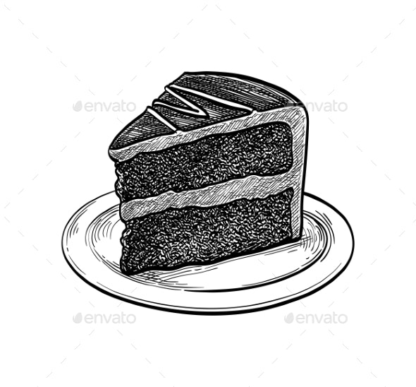 Ink Sketch of Chocolate Cake - Food Objects