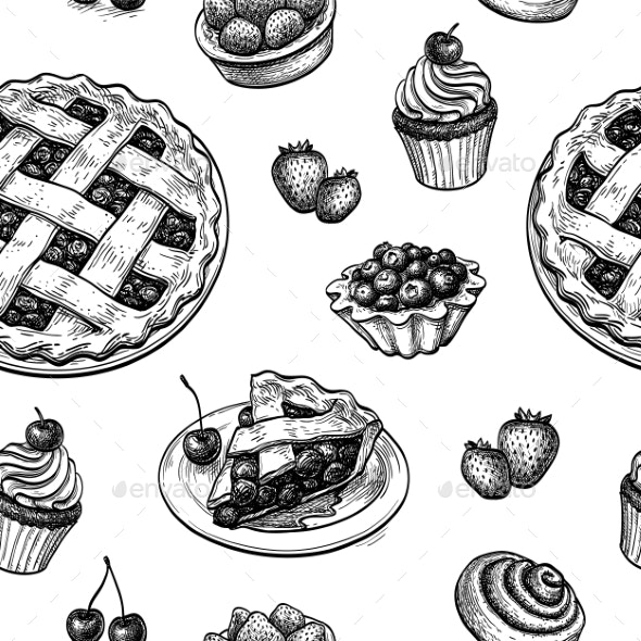 Seamless Pattern with Fresh Fruit Pastries - Patterns Decorative