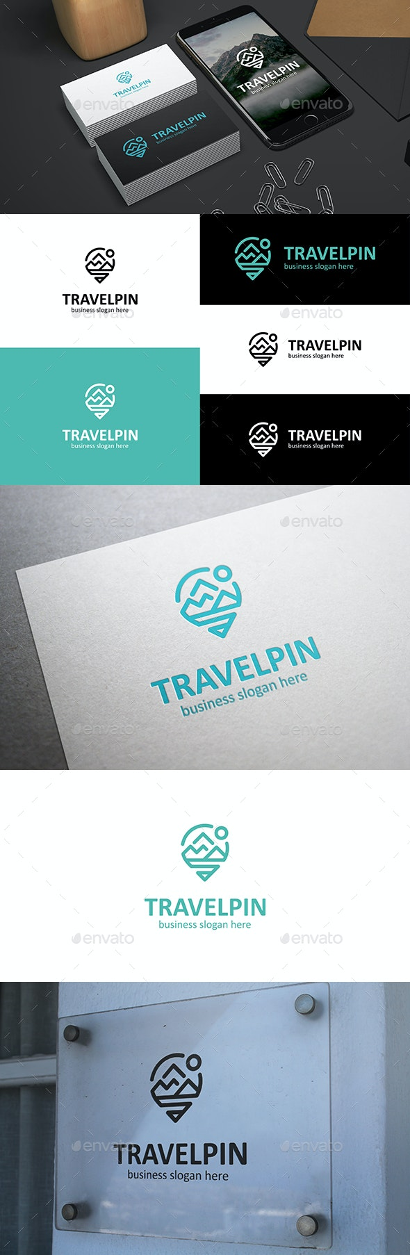 Travel Pin - Mountains Point Logo Locator - Nature Logo Templates
