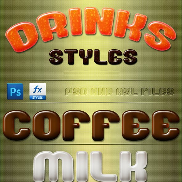 Drinks Styles Text Effects