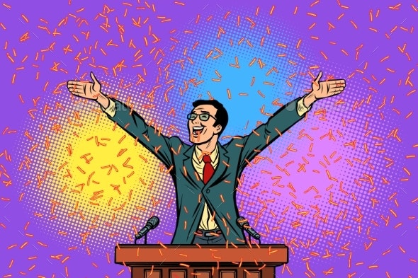 Politician Candidate Speaker Triumph Victory - People Characters