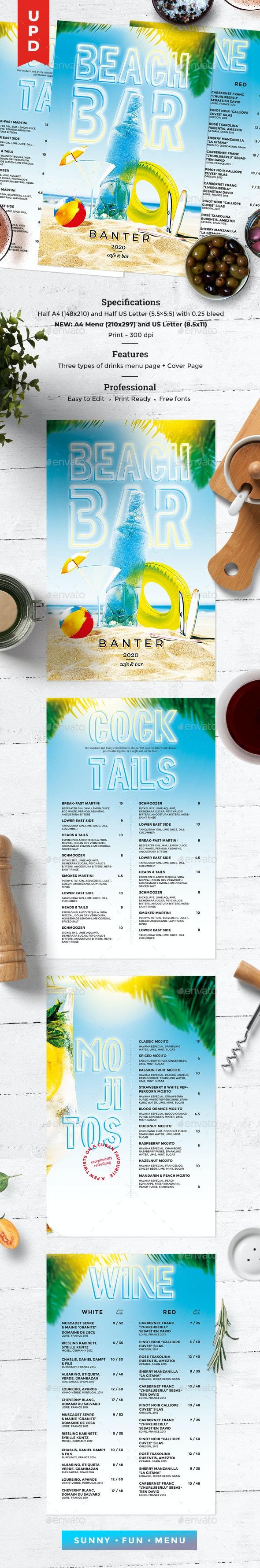 Summer Menu - Food Menus Print Templates