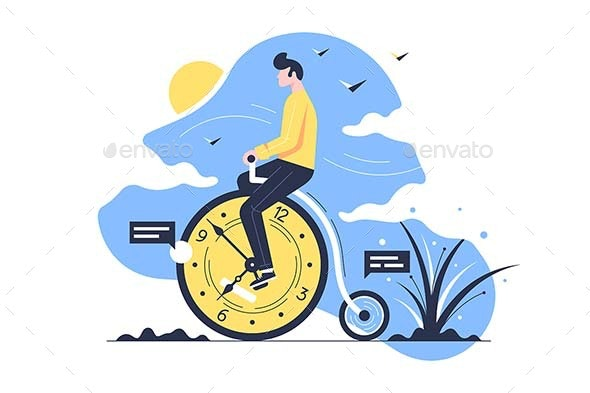 Young Man Rides Time Bike on Nature - People Characters