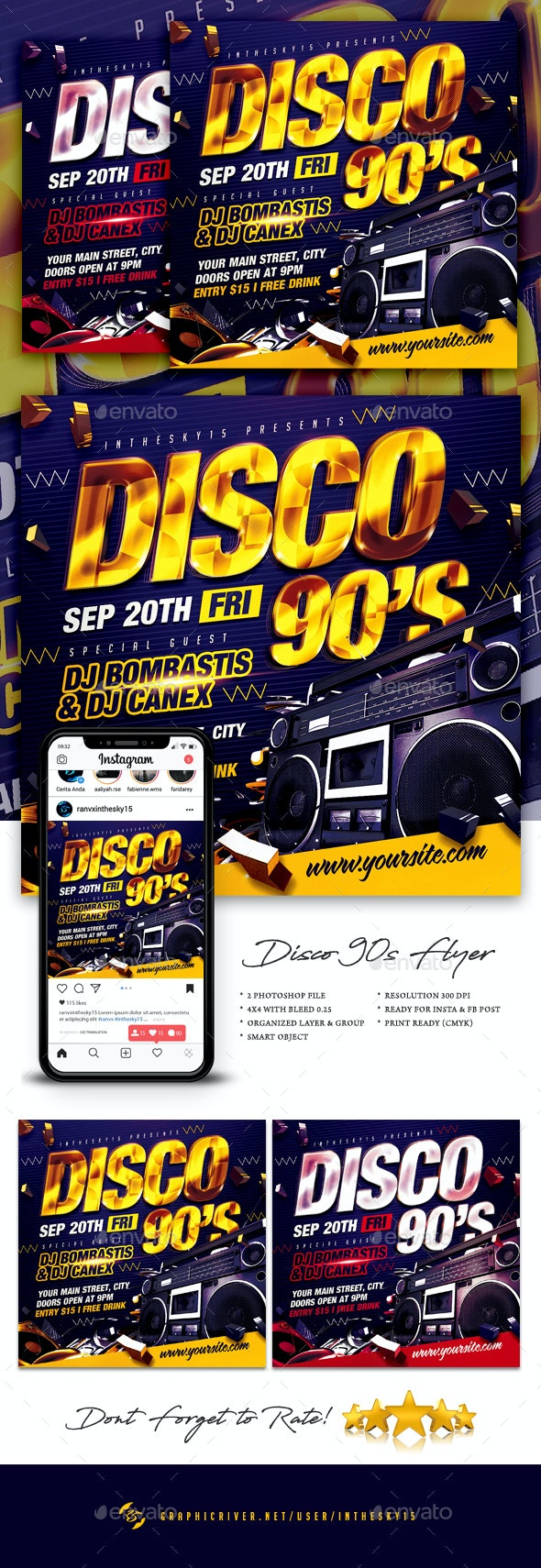 Disco 90's Flyer - Clubs & Parties Events