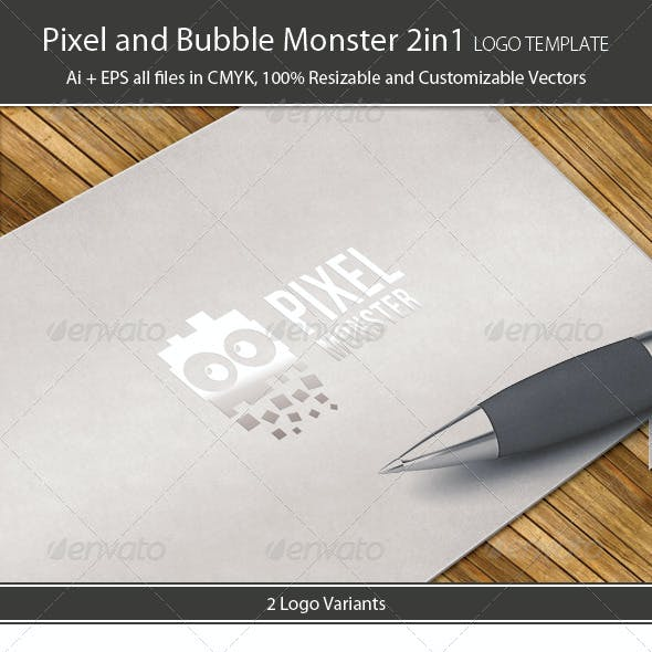 Pixel and Bubble Monster Logo Template 2in1