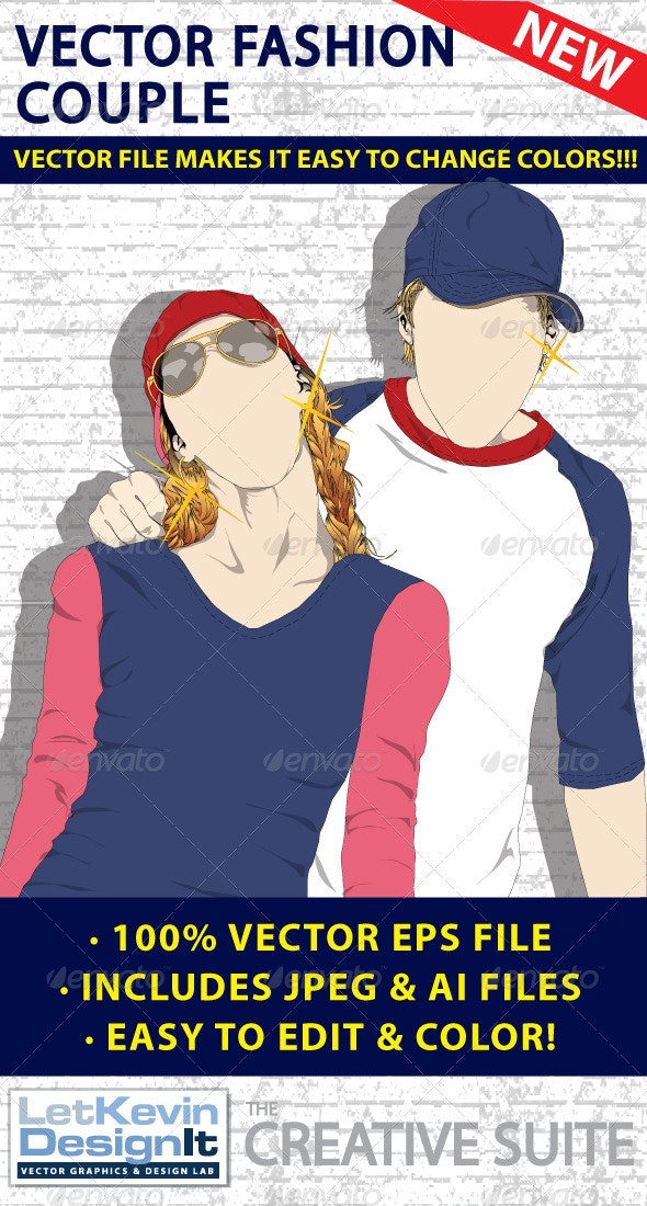 Couple Man and Woman Vector - Fashion - People Characters