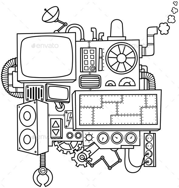Machine Line Art - Miscellaneous Vectors