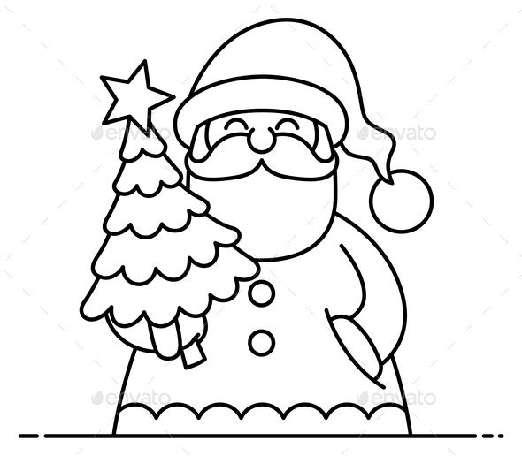 Santa Flat Design Line Art - Christmas Seasons/Holidays