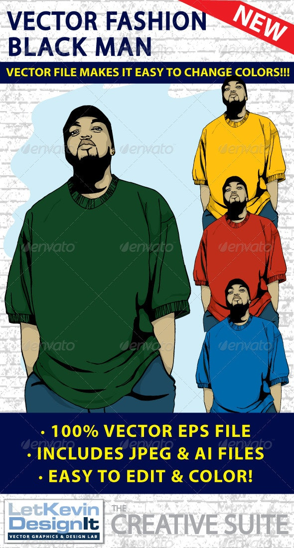 Black Man Vector - Fashion - People Characters