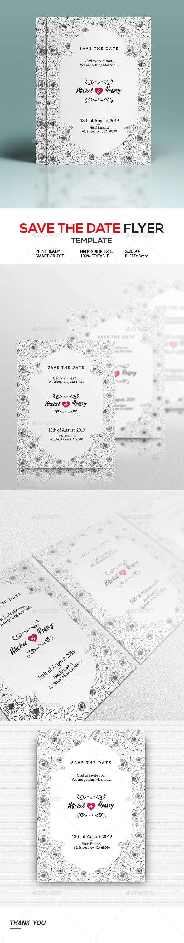 Wedding Save The Date - Cards & Invites Print Templates