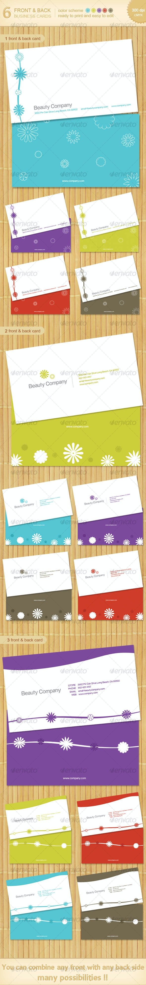 6 Beauty business cards - 5 color scheme! - Creative Business Cards