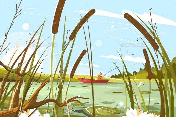 Fisherman Fishing in Pond - Sports/Activity Conceptual