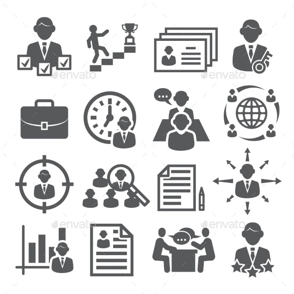 Head Hunting Icons on White Background - People Characters