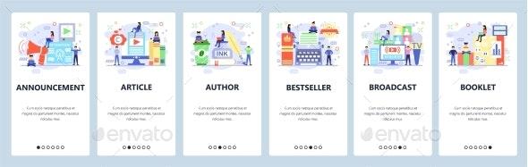 Mobile App Onboarding Screens Book Writer - Media Technology