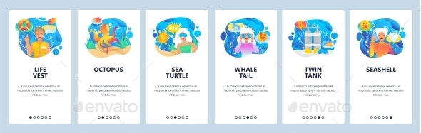 Mobile App Onboarding Screens Underwater World - Miscellaneous Vectors