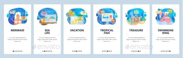 Mobile App Onboarding Screens Sea World - Miscellaneous Vectors