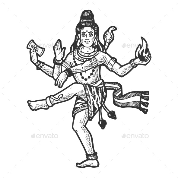 Shiva Indian God Engraving Vector Illustration - Miscellaneous Characters