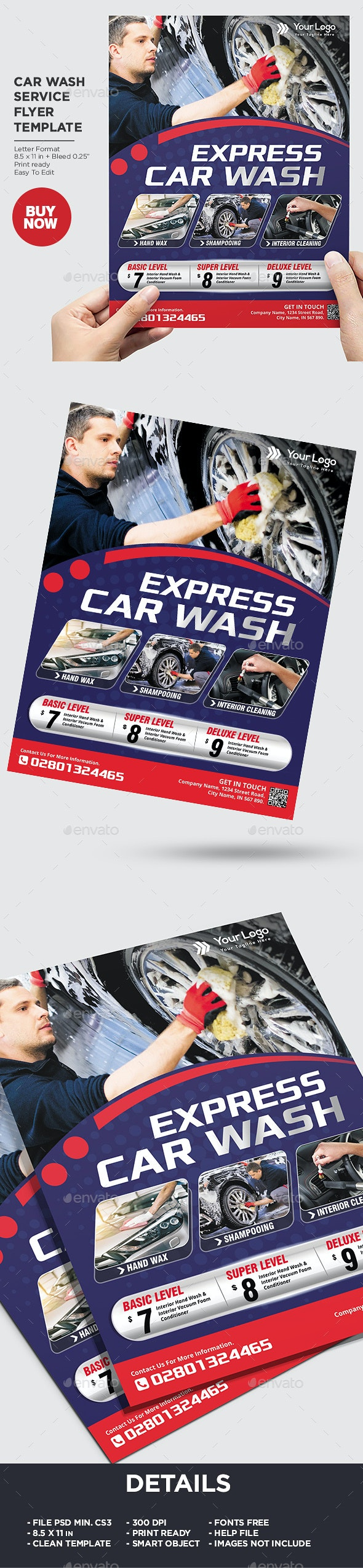 Express Car Wash Flyer Template - Corporate Flyers