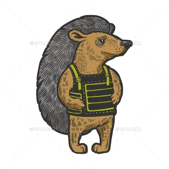 Hedgehog in Body Armor Color Sketch Engraving
