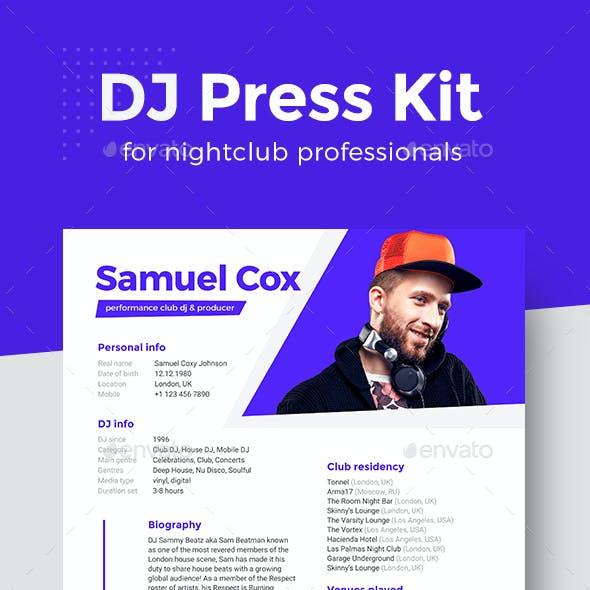 Modern DJ & Producer Press Kit / Rider / Resume PSD Template