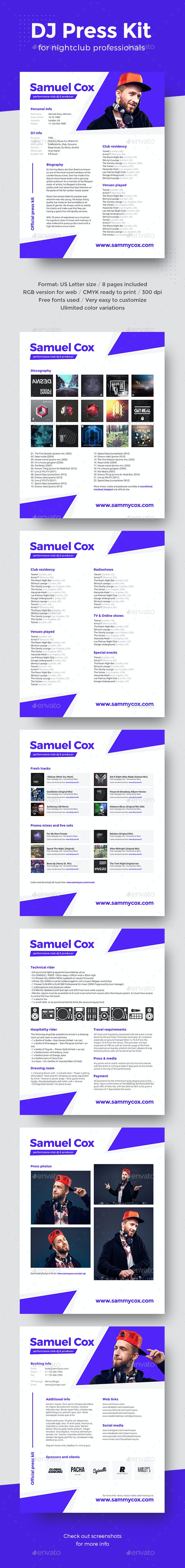 Modern DJ & Producer Press Kit / Rider / Resume PSD Template - Resumes Stationery