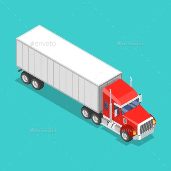 Isometric Flat Vector Concept of a Cargo Truck - Man-made Objects Objects