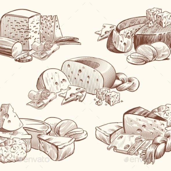 Sketch Cheese. Art Compositions with Cheeses