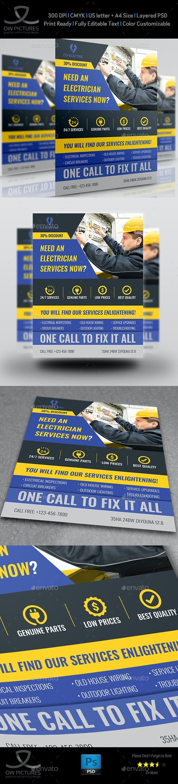 Electrical Services Flyer Template - Corporate Flyers