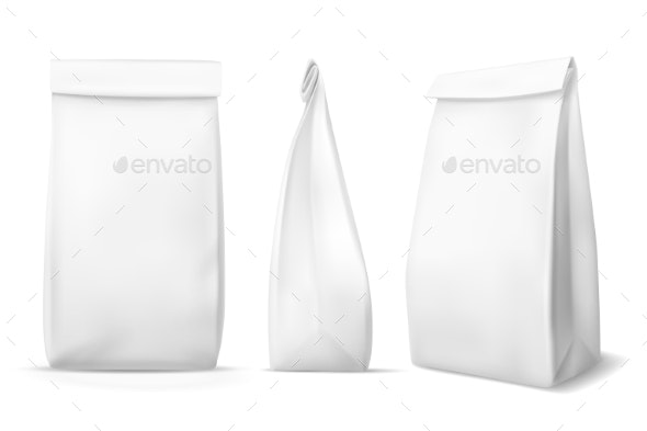 White Paper Food Bag. Blank Snack Product - Food Objects