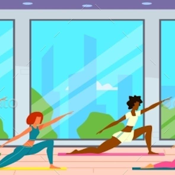 Women in Gym. Female Group Doing Fitness Exercises